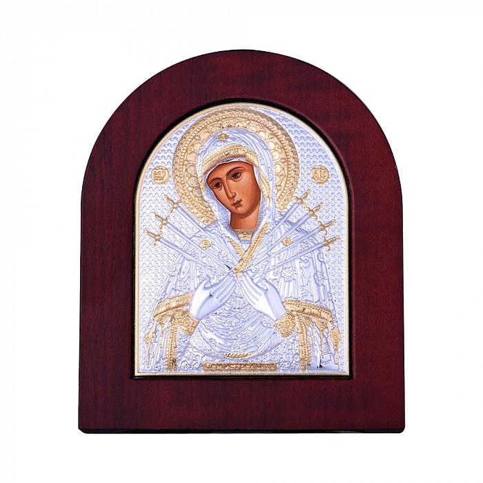 Икона Божия Матерь Семистрельная с серебрением и позолотой 000131705 000131705