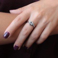 Серебряное кольцо Дайяна с кварцем под лондон топаз и цирконием