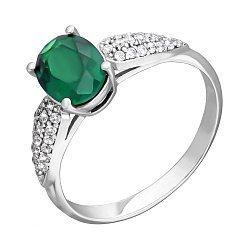 Серебряное кольцо Бриджит с зеленым агатом и фианитами
