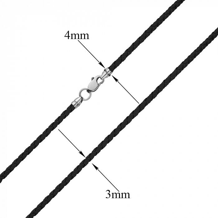 Черный плетеный текстильный шнурок Элвис с серебряным замком, 3мм 000078986
