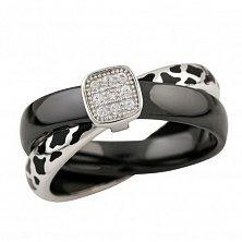 Серебряное кольцо Бренда с черной керамикой, эмалью и фианитами
