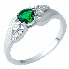 Серебряное кольцо Гвинет с синтезированным изумрудом и фианитами
