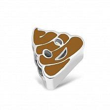 Серебряный шарм Эмоджи веселая какашка с коричневой эмалью