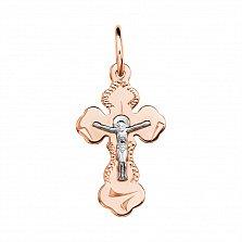 Золотой крестик Благость в комбинированном цвете с насечками