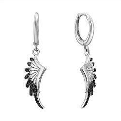 Серебряные серьги-подвески с черными фианитами 000132651