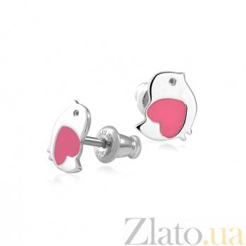 Серебряные серьги-пуссеты Птенчики с розовой эмалью 000079068