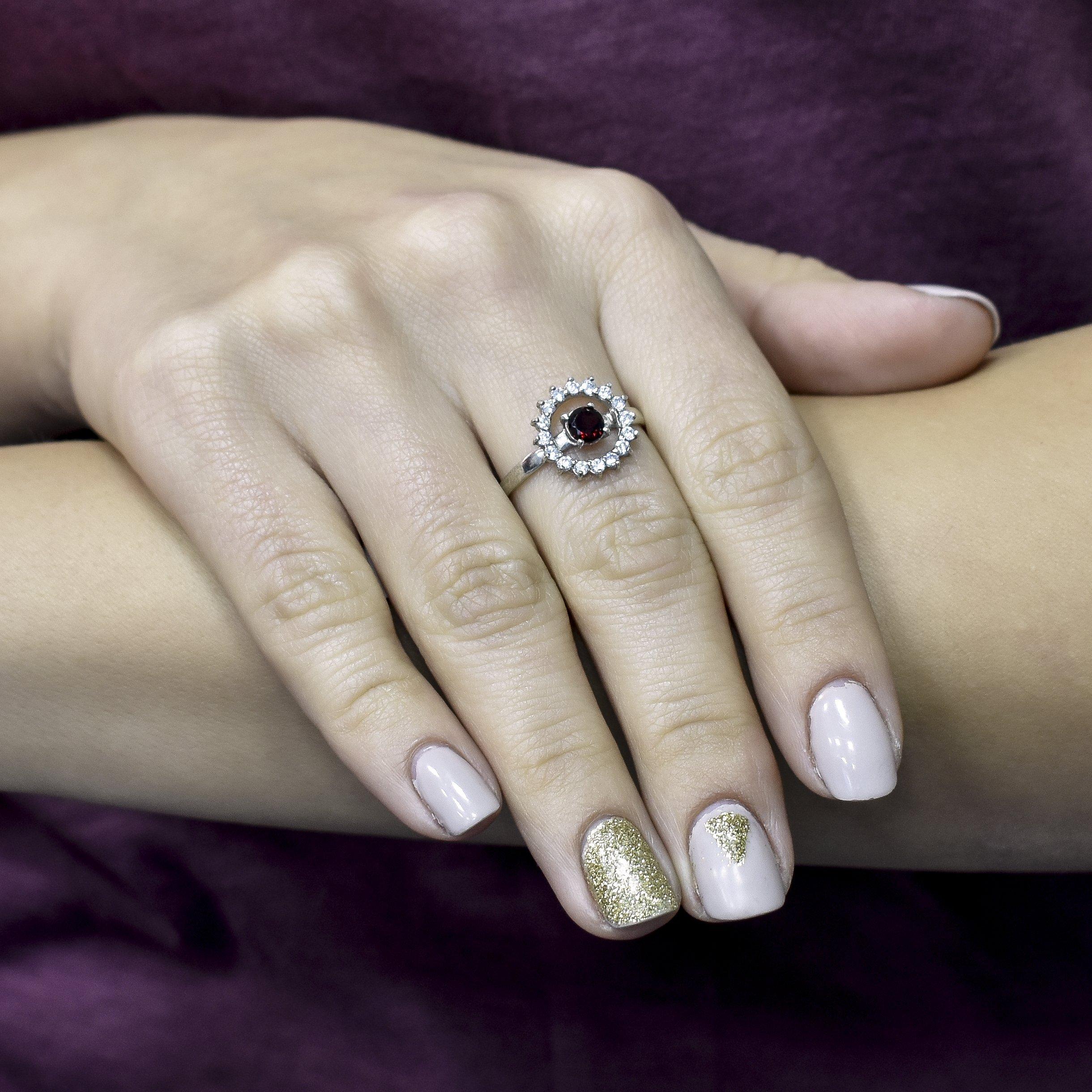 Серебряное кольцо Марина с гранатом и фианитами