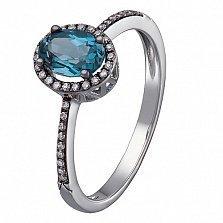Кольцо в белом золоте Дорин с лондон топазом и бриллиантами