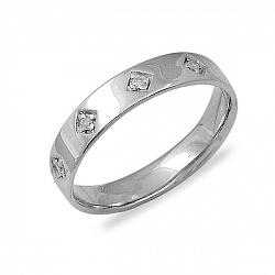 Обручальное кольцо Верность из белого золота с бриллиантами
