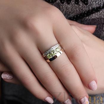 Серебряное кольцо Ванесса с золотой вставкой и хризолитом BGS--544к