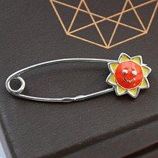 Серебряная булавка Оранжевое солнышко с эмалью