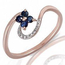 Кольцо из красного золота Полевой цветок с бриллиантами и сапфирами