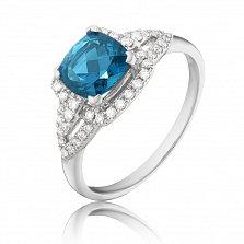 Золотое кольцо Коко с узорной шинкой, лондон топазом и бриллиантами