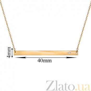 Золотое колье Городской минимализм с цирконием на цепочке якорного плетения 000054927