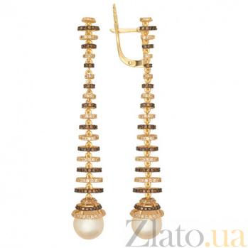 Золотые серьги с жемчугом и фианитами Дора VLT--ТТ2338