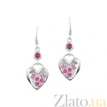 Серебряные серьги с кристаллами Swarovski Цвет сердца 3С203-0027