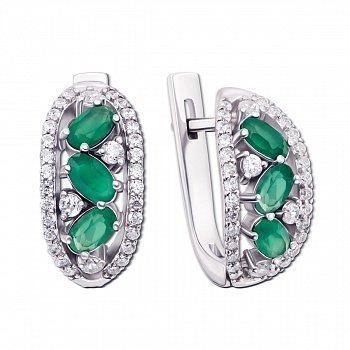 Серебряные серьги с зеленым агатом 000010824