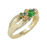 Золотое кольцо с цаворитами, сапфирами и бриллиантами Осенняя феерия