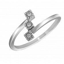 Кольцо из белого золота Тринити с бриллиантами