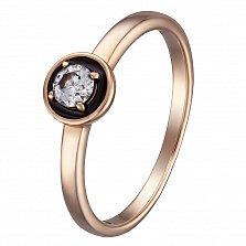 Золотое кольцо с бриллиантом и черной эмалью Валери