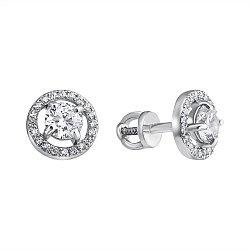 Серебряные серьги-пуссеты Беата с фианитами