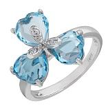 Серебряное кольцо с топазами и фианитами Анна