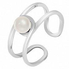 Золотое кольцо белого цвета с жемчугом Морской бриз