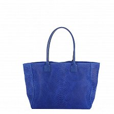 Кожаная сумка на каждый день Genuine Leather 7804 синего цвета на молнии и магнитной кнопке