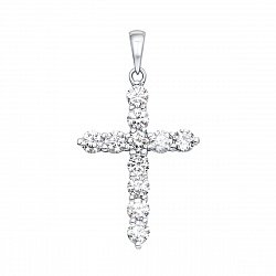 Декоративный крестик из белого золота с бриллиантами 000129551