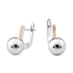 Серебряные серьги с шариками и золотыми накладками 000150302
