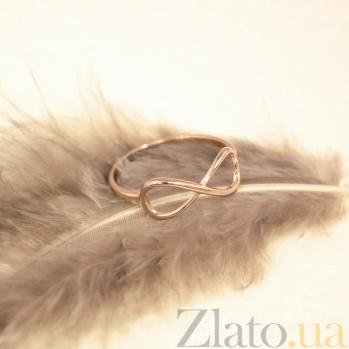 Золотое кольцо Ювелирная бесконечность с фигурной шинкой в красном цвете металла 000087805