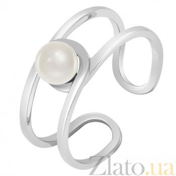 Золотое кольцо белого цвета с жемчугом Морской бриз 000032805