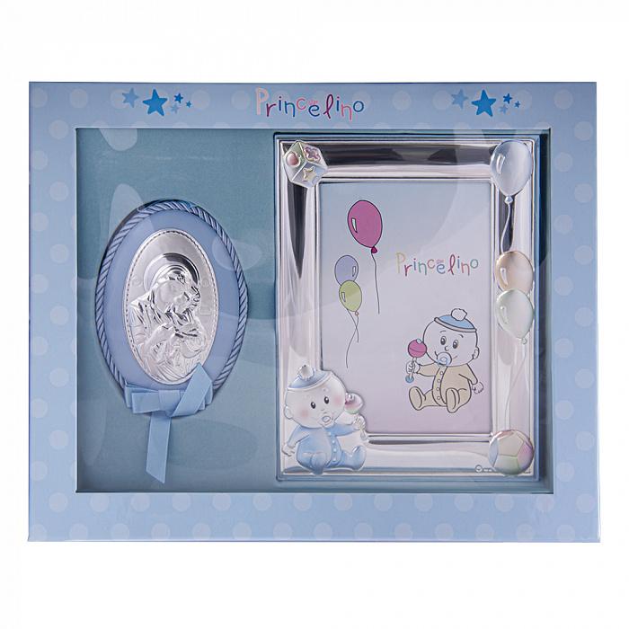 Посеребренная икона в наборе с рамкой для фотографии в голубом цвете 000131802 000131802