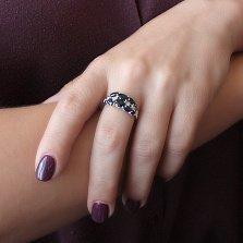 Серебряное кольцо Люсьен с гидротермальными сапфирами и фианитами