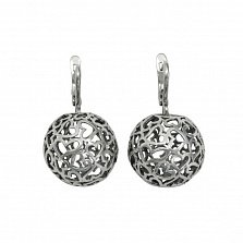 Серебряные ажурные серьги-подвески Любимые шарики