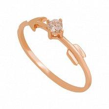 Золотое кольцо с фианитом Стрела Амура