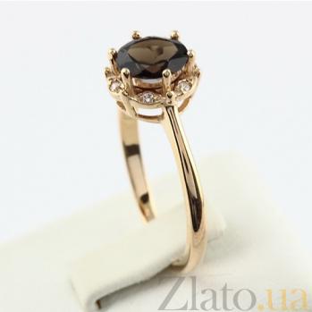 Золотое кольцо с раухтопазом и фианитами Ада 000024471