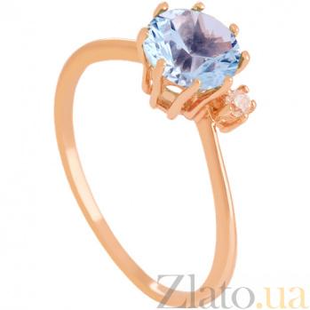 Золотое кольцо Валери с голубым топазом и цирконием 000024458