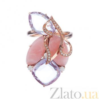 Золотое кольцо с агагтом, аметистами и бриллиантами Элодия 1К193-0555