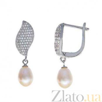 Серебряные серьги с жемчугом и цирконием Элли AQA-E00567PW