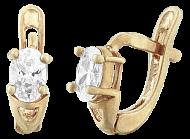 Серебряные серьги с позолотой и фианитами Грейс