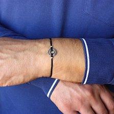 Шёлковый браслет Лучшему брату с серебряной вставкой