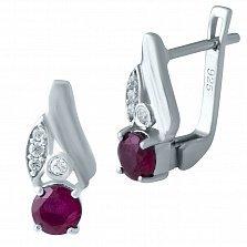 Серебряные серьги Бриана с рубином и фианитами