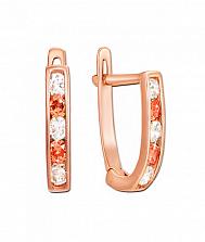 Золотые серьги Дормео в красном цвете с белыми и оранжевыми фианитами