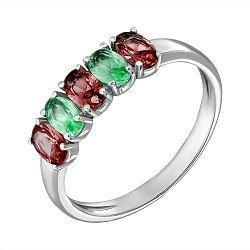Серебряное кольцо Каролина с гранатом и зеленым кварцем