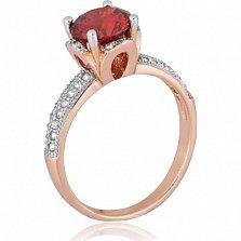 Серебряное кольцо с красным фианитом Эмилия