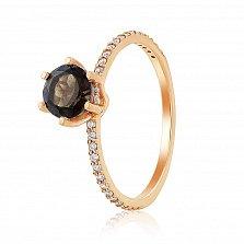 Кольцо в красном золоте Тамила с раухтопазом и фианитами