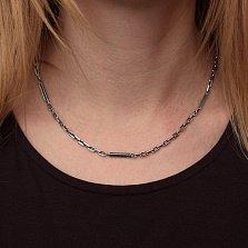 Серебряная цепь Миллениум с разноформатными чернеными звеньями, 3,5мм