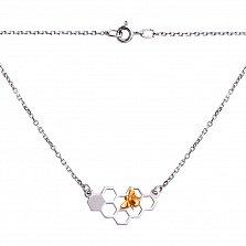 Серебряное колье Медовые соты с позолотой