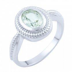 Серебряное кольцо с зеленым аметистом 000055834